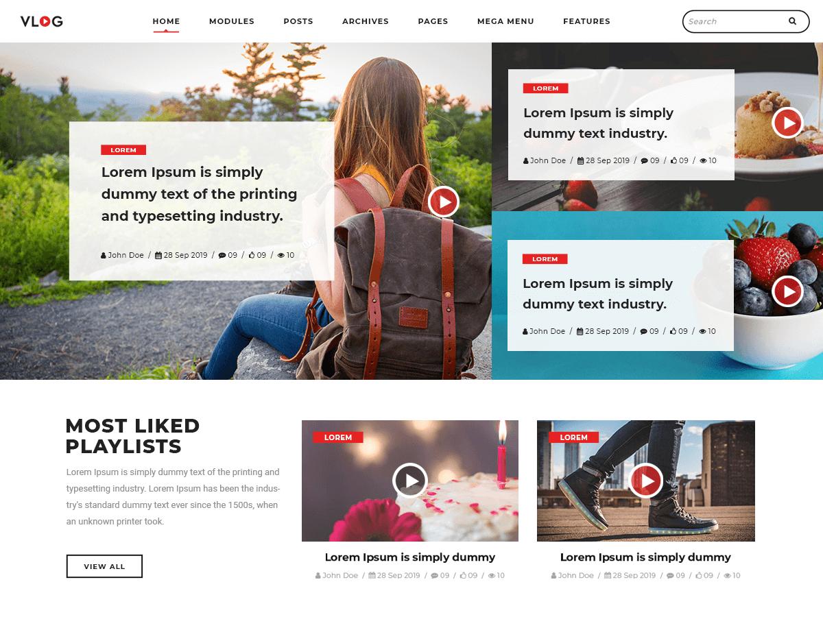 Vlogger Video Blog WordPress Theme