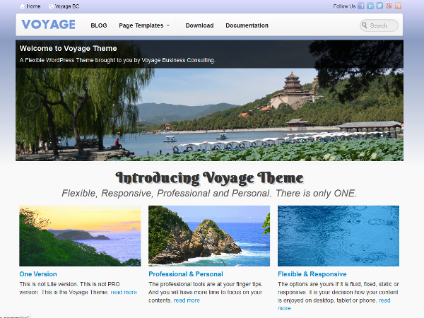 Voyage free wordpress theme