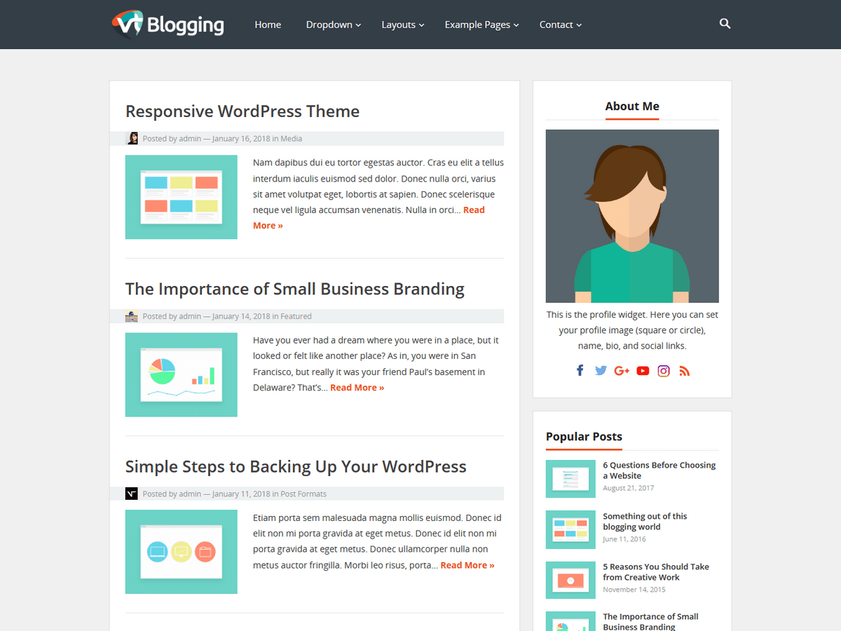 VT Blogging is a Minimal and Clean WordPress Theme. Mobile-friendly (responsive), optimized for speed, and implements SEO (search engine optimization) best ...