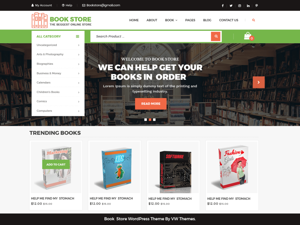 VW Book Store WP Theme