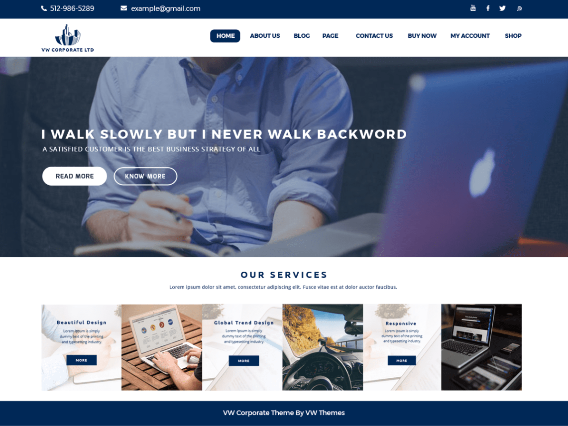 VW Corporate Lite — Free WordPress Themes