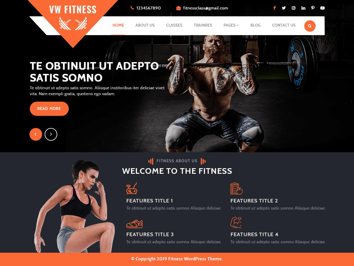 WordPress主题:VW Fitness Gym