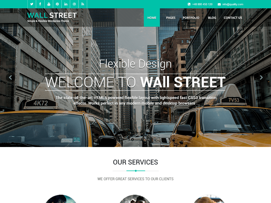 Wallstreet Light free wordpress theme