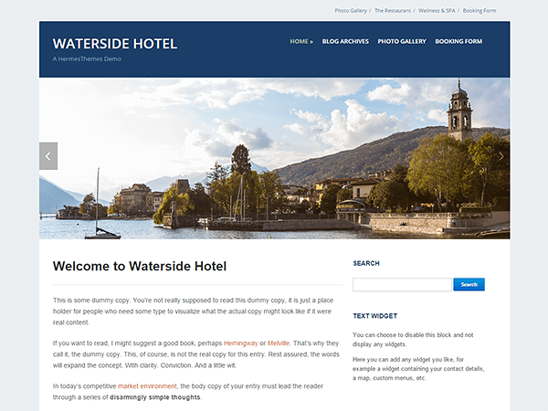 Waterside free wordpress theme