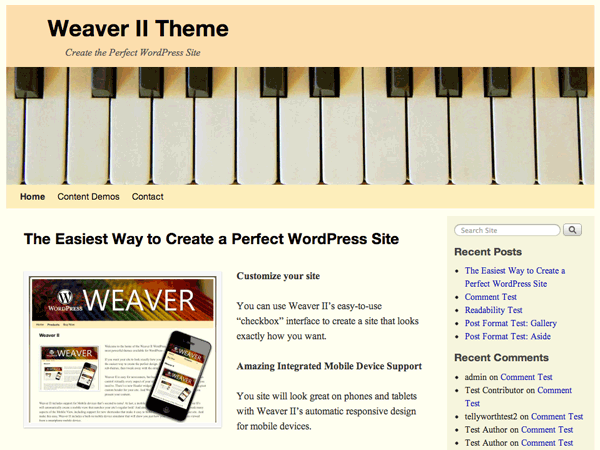 Weaver II free wordpress theme