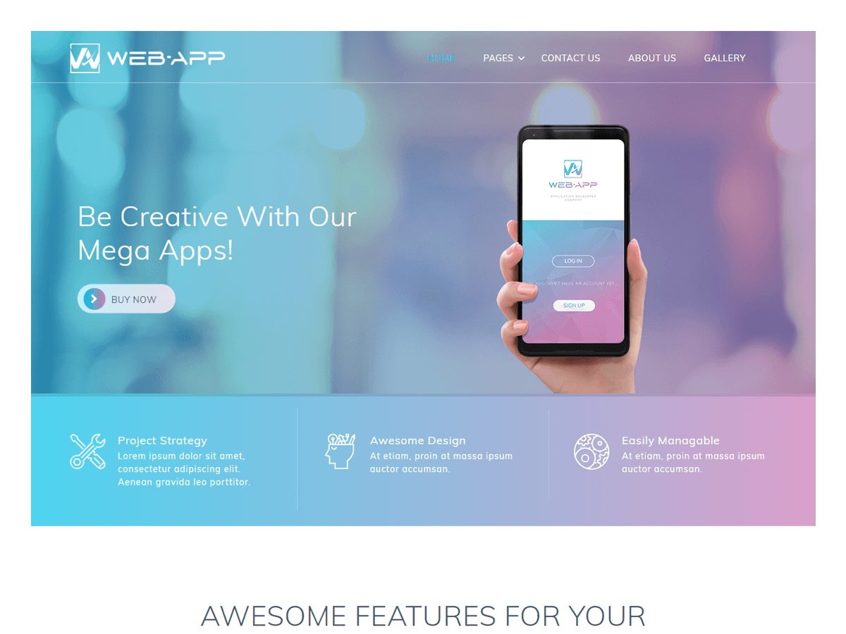 WordPress主题:Web App