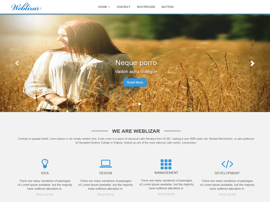 Weblizar free wordpress theme