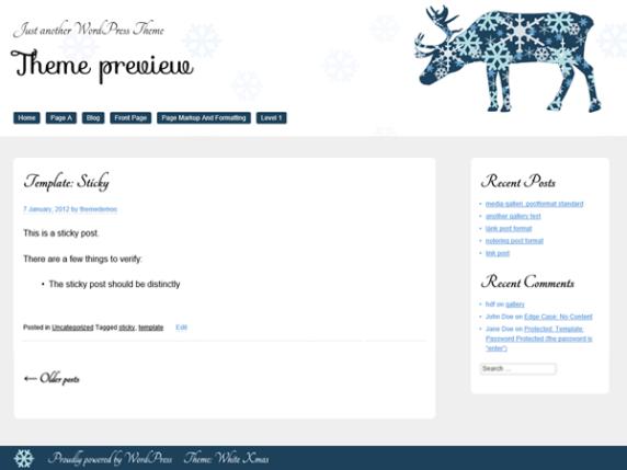 White Xmas wordpress theme
