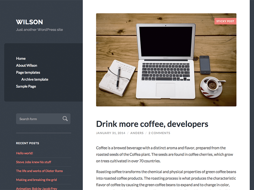 Wilson free wordpress theme