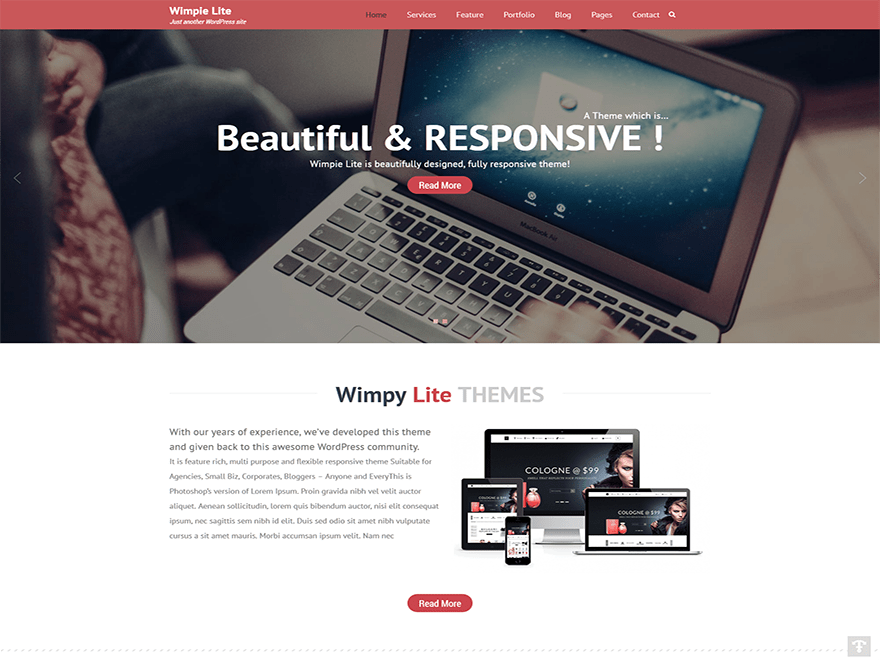 screenshot of Wimpie Lite free WooCommerce theme