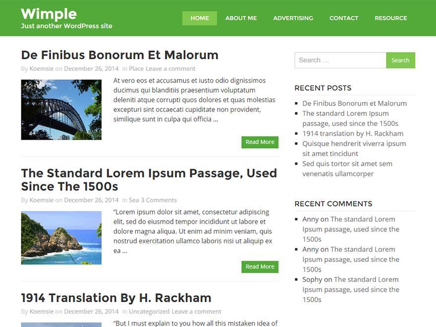 Wimple free wordpress theme
