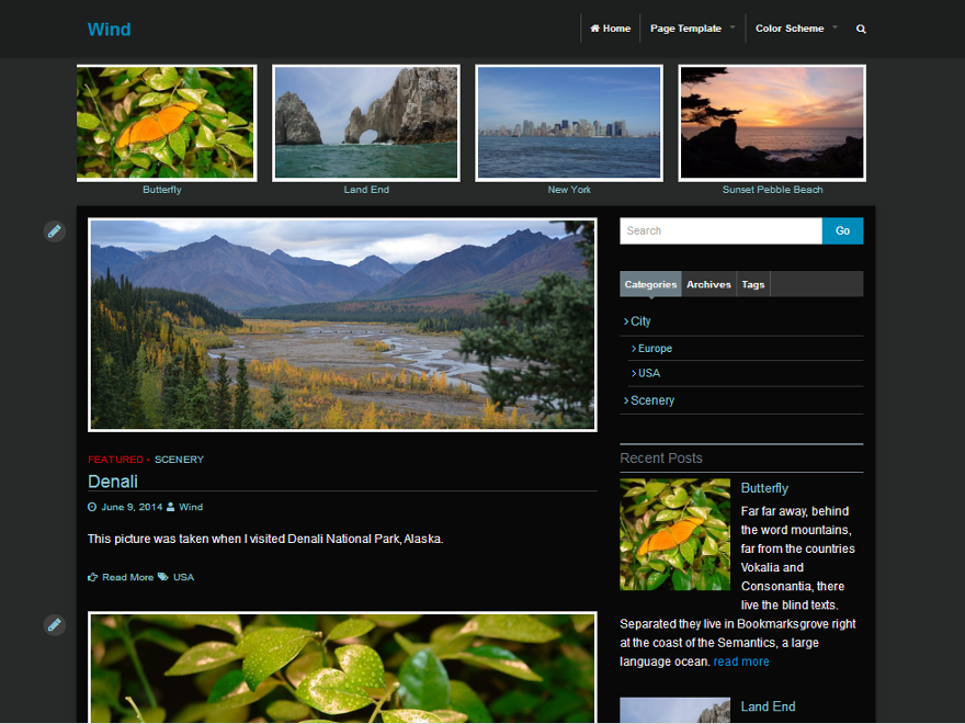Wind free wordpress theme