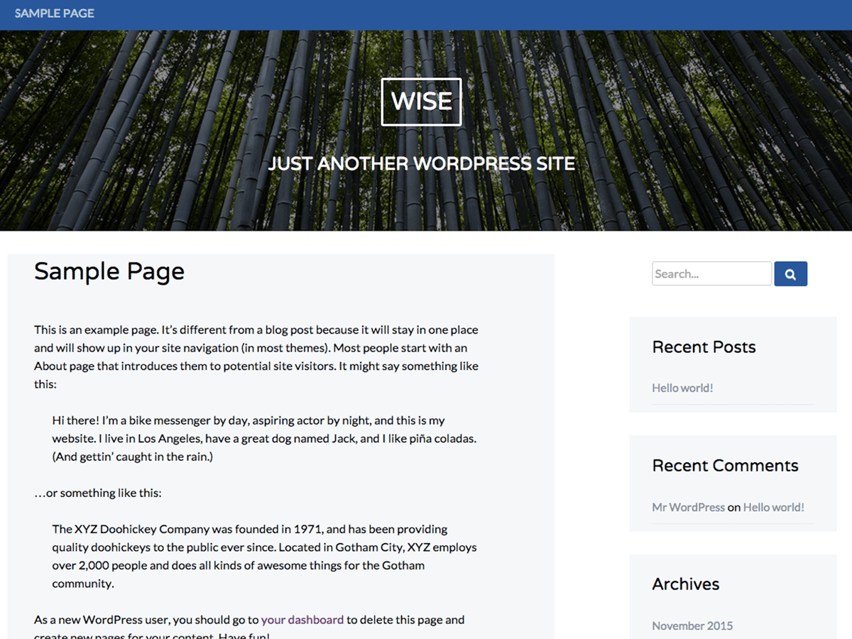 Wise free wordpress theme