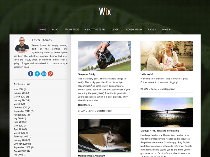Wix free wordpress theme