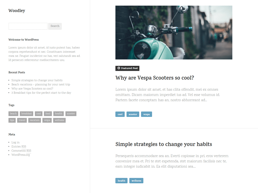 Woodley free wordpress theme