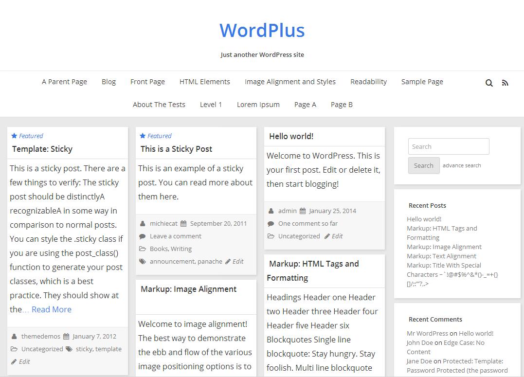 WordPlus free wordpress theme