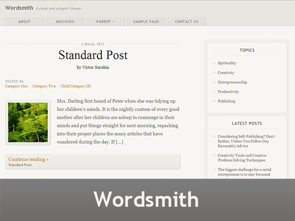Wordsmith free wordpress theme