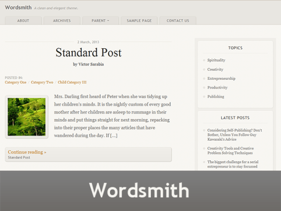 Wordsmith wordpress theme