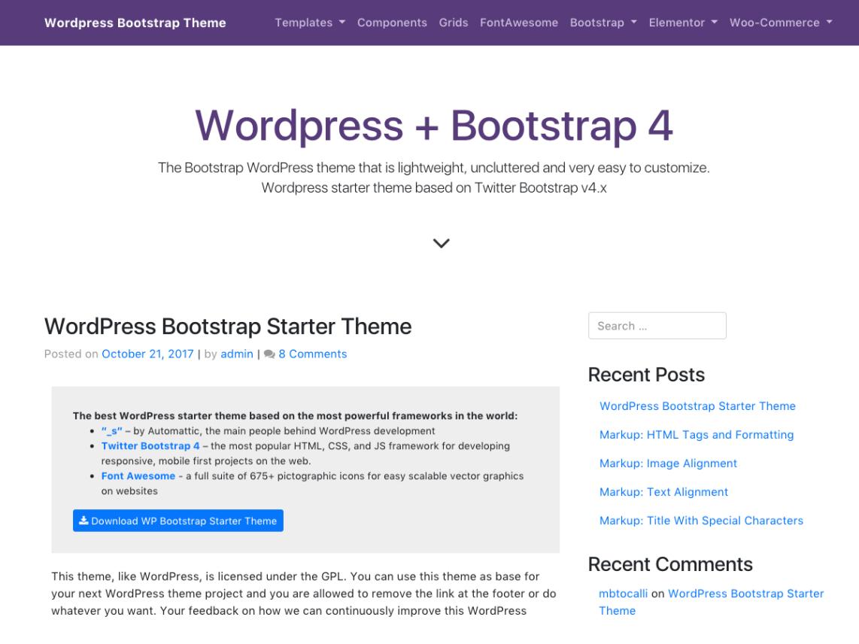 WP Bootstrap Starter - WordPress theme | WordPress org