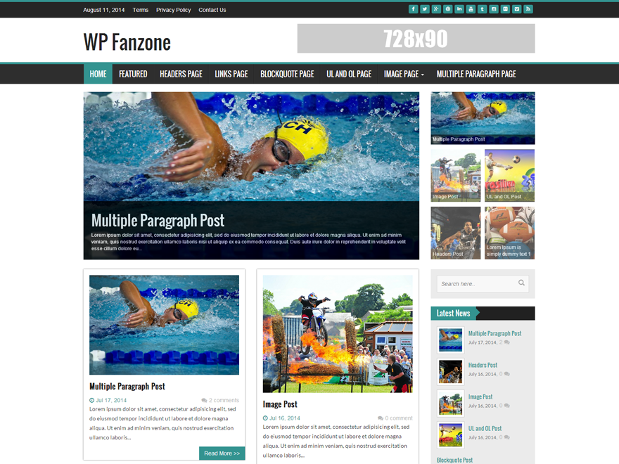 WP FanZone free wordpress theme