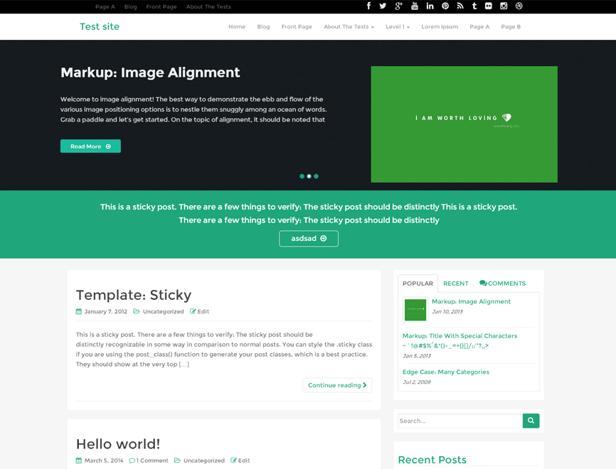 WP RootStrap free wordpress theme