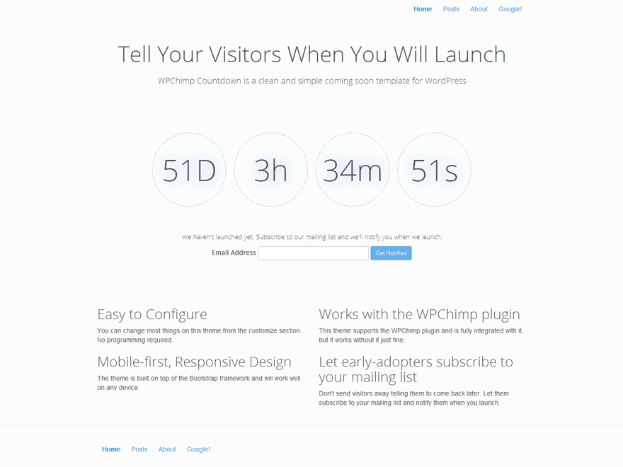 WPChimp Countdown free wordpress theme