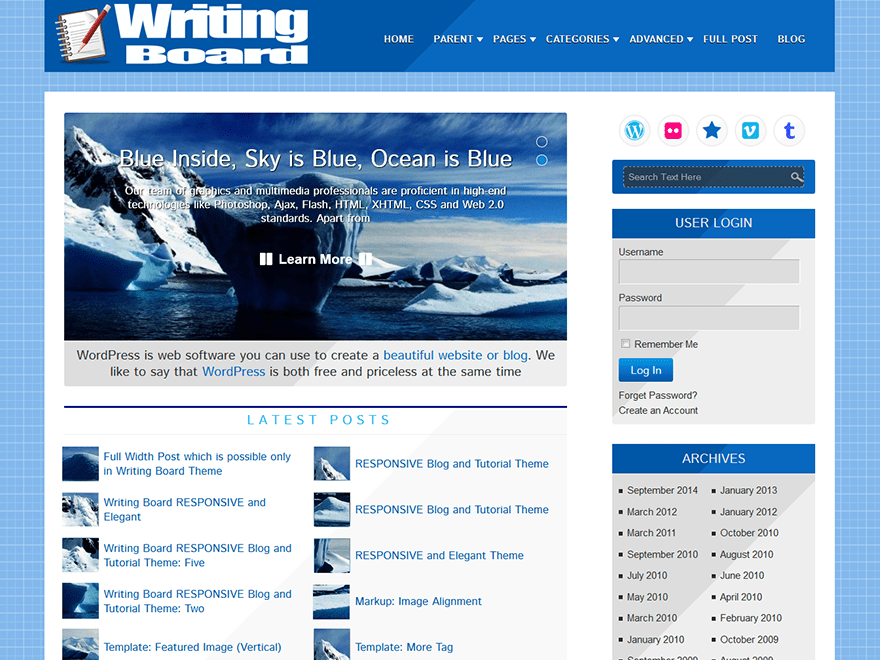 Writing Board free wordpress theme