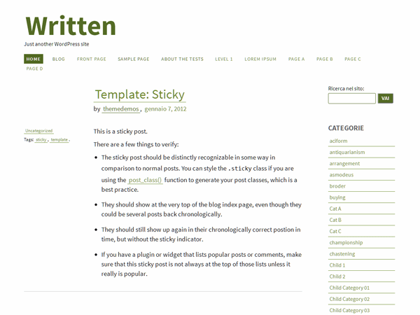 Written free wordpress theme