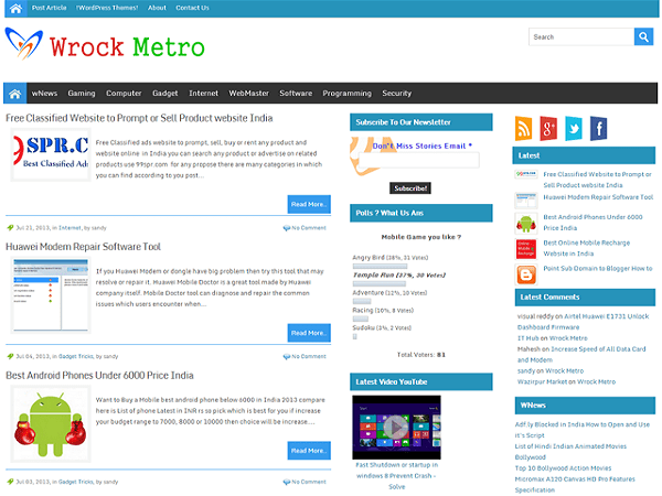 Wrock Metro free wordpress theme