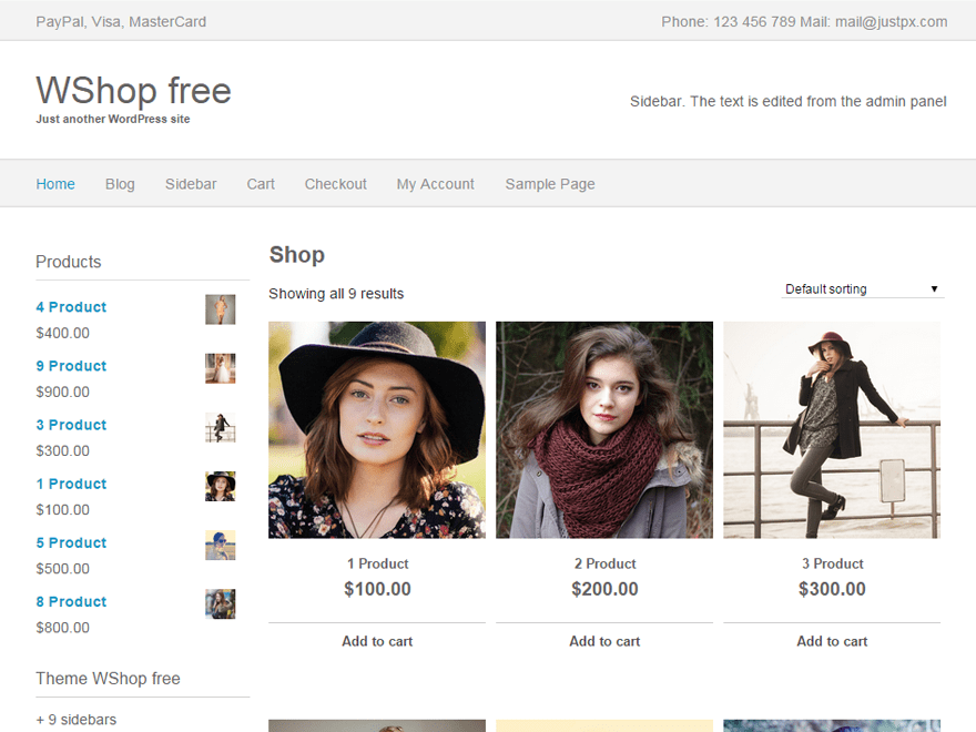 screenshot of WShop free WooCommerce theme