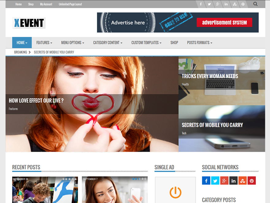 Xevent Magazine free wordpress theme