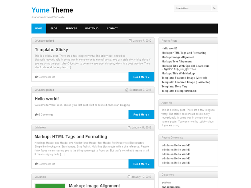 Yume free wordpress theme