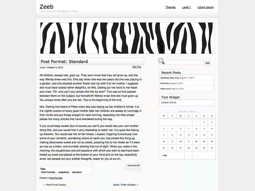 Zeeb free wordpress theme