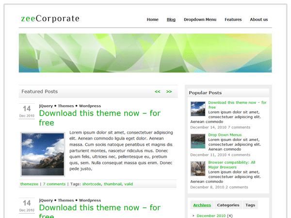 zeeCorporate free wordpress theme