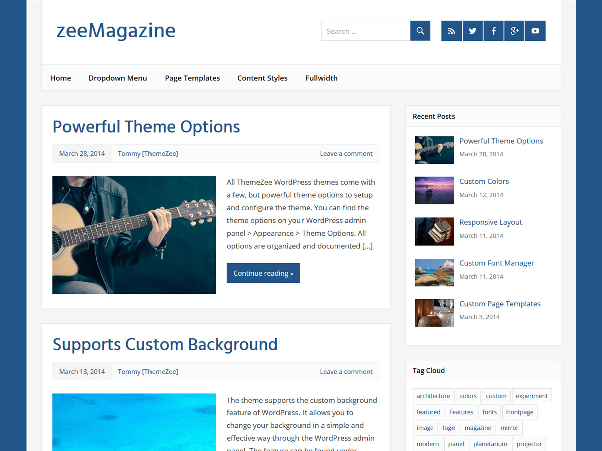 zeeMagazine free wordpress theme
