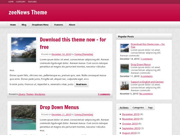 zeeNews free wordpress theme