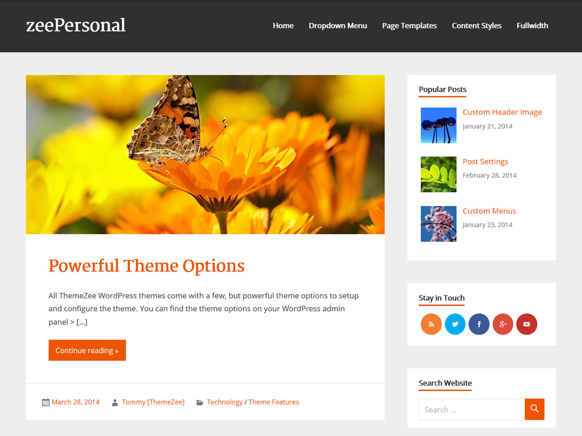 zeePersonal free wordpress theme