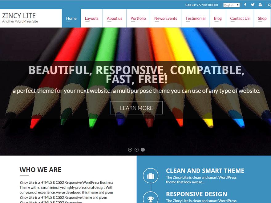 Zincy Lite free wordpress theme
