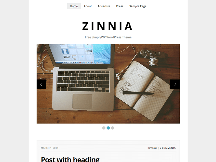 Zinnia free wordpress theme