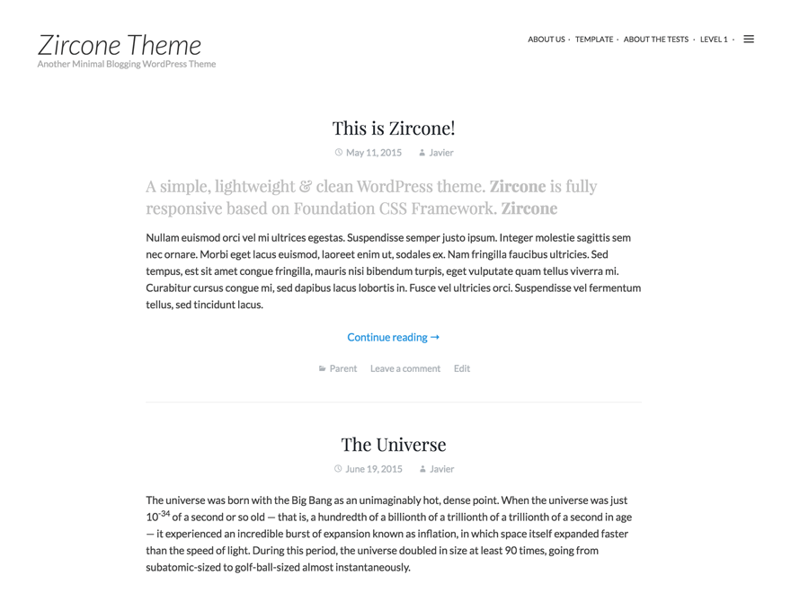 Zircone free wordpress theme