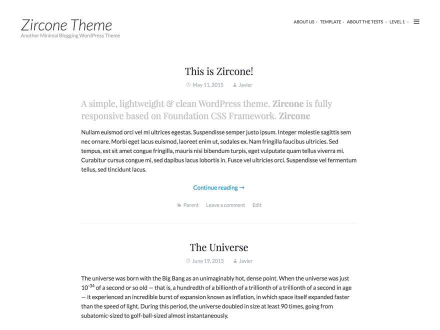 Zircone theme wordpress gratuit