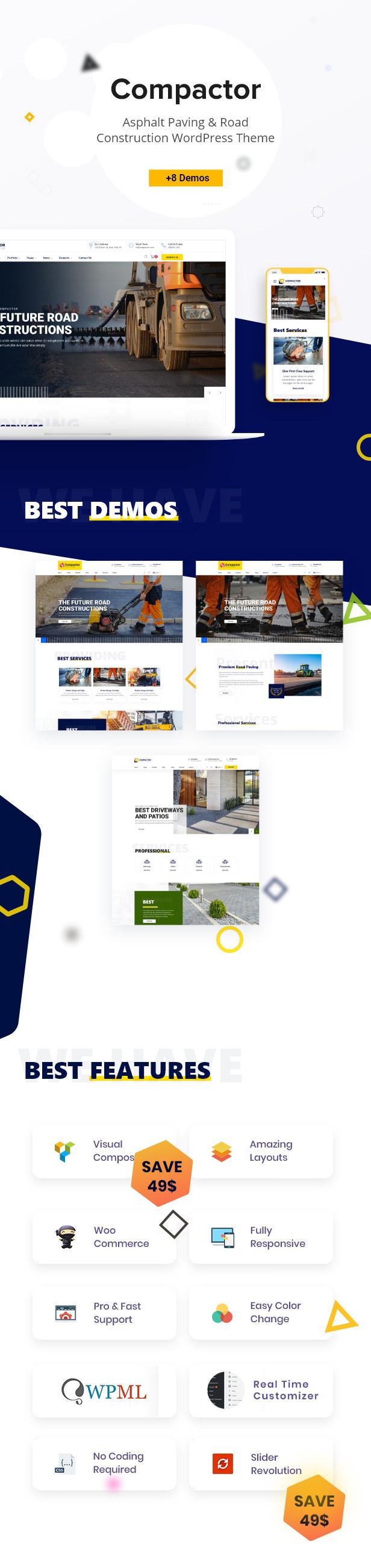 Compactor - Asphalt paving & Road construction WordPress Theme