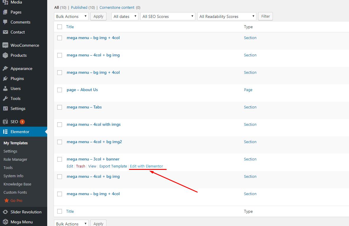 How to edit Shop Departments menu dropdown within Chromium