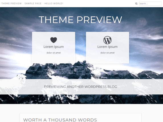 The theme has a top menu and a large header area with a background image and featured sections. The content has a white background.