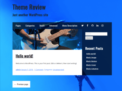 A theme with a full screen background image of a microphone. The content areas are white with black and blue text, while the sidebar and footer have a semi transparent blue background.