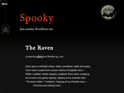 The theme is black with white text and orange accent color. It has a menu with an animated spider and cobweb, and a moon with a bat infront of it in the header.