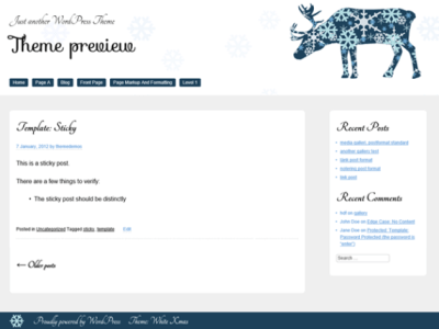 A white and blue theme with a raindeer in the header area. The theme has a menu below the site title, and a sidebar next to the main content.