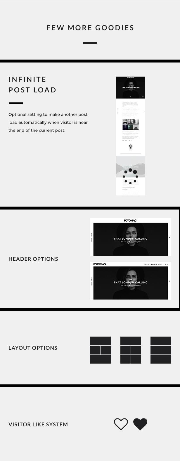 More minimal features for Fotomag Modern Blog WordPress theme