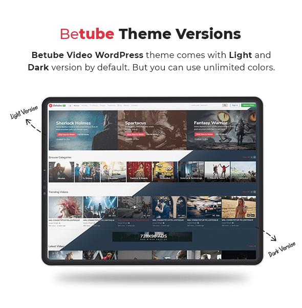 betube video WordPress theme version