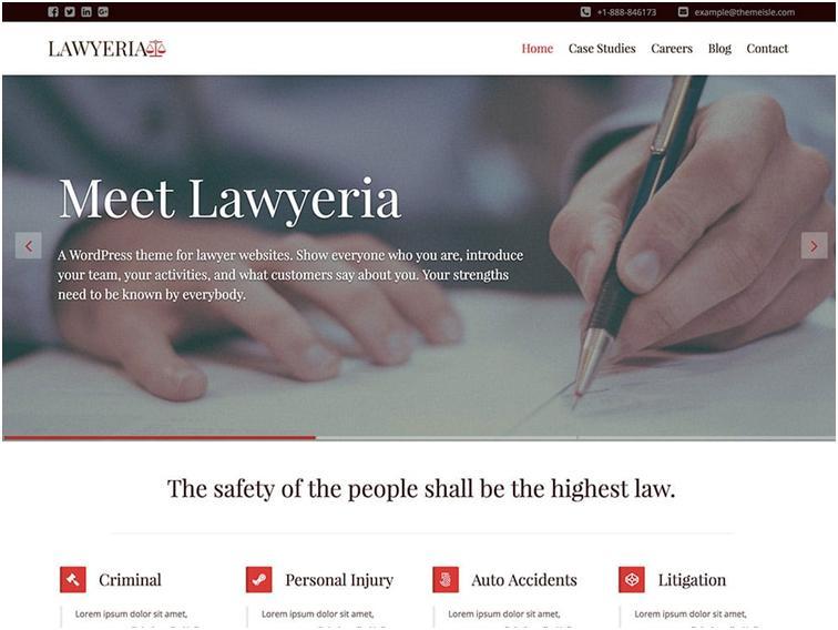 Lawyeria WordPress Law Theme Development & Support
